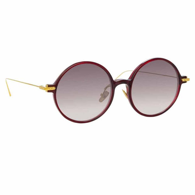 Linear 9 C11 Round Sunglasses in Burgundy Frame - The Edition Shop