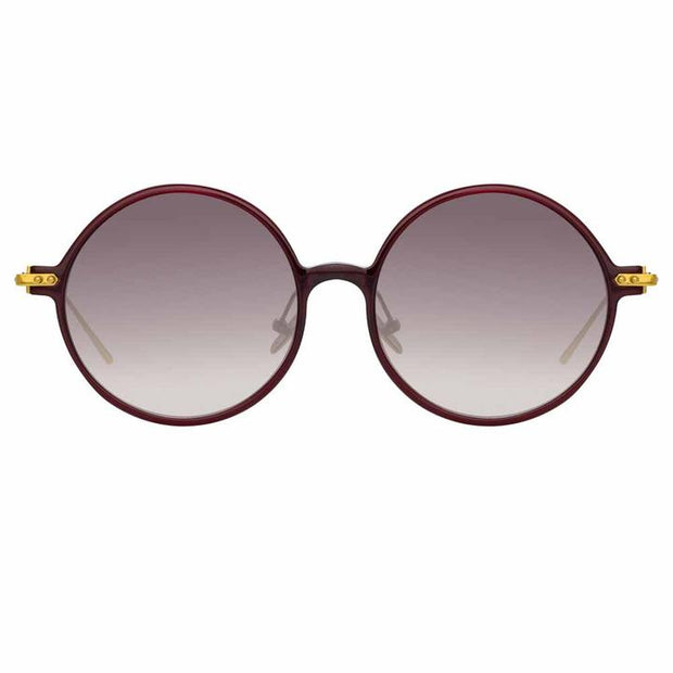 Linear 9 C11 Round Sunglasses in Burgundy Frame