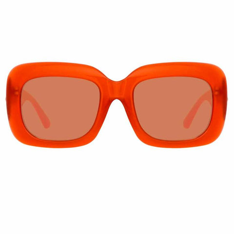 Lavinia C1 Rectangular Sunglasses in Orange Frame