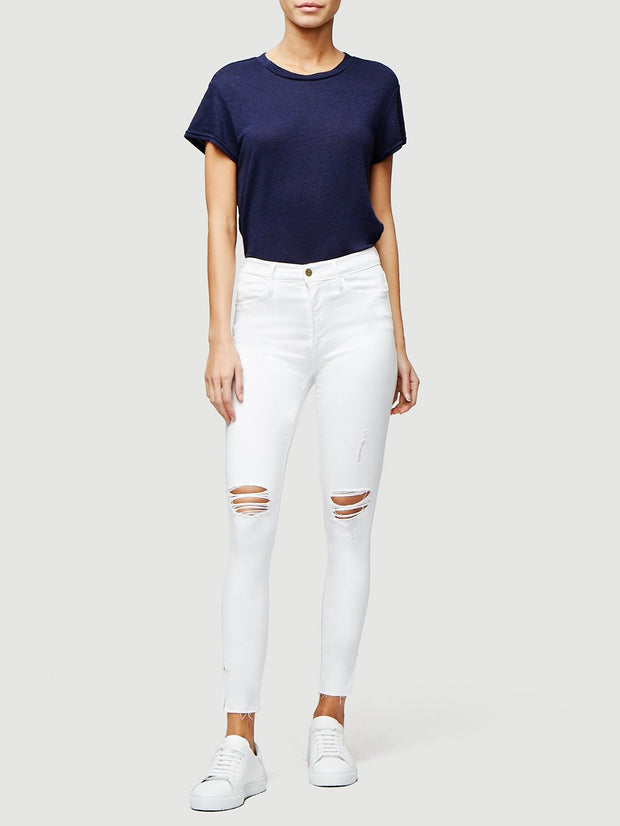 Le High Skinny Crop Slit Rivet in Blanc Transit
