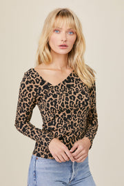 Angle Long Sleeve Top in Leopard
