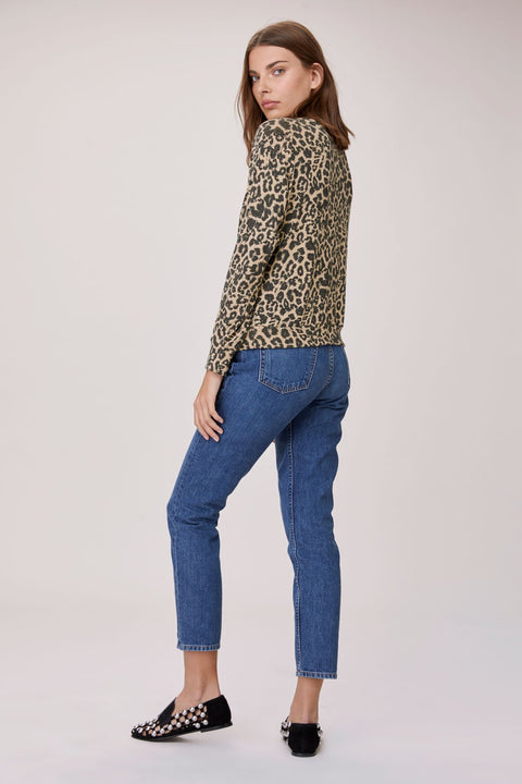 Brushed Phased Sweater in Leopard Print