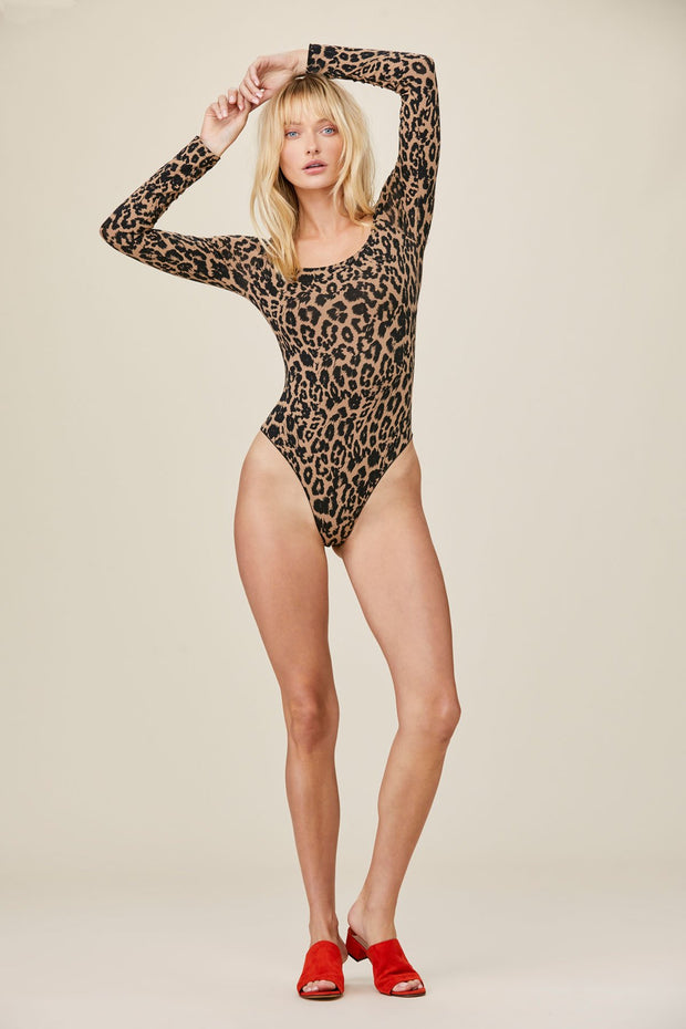 Long Sleeve Bodysuit in Leopard Print