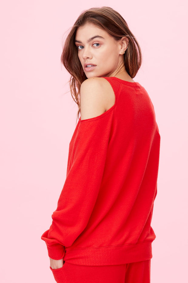 Brushed Heart on My Sleeve Sweater in Fiery Red