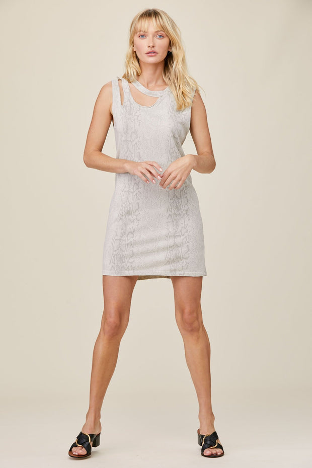 Snakeskin Double Cut Tank Dress