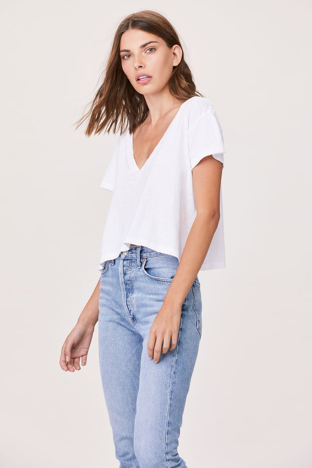 Essential Sparks V-Neck Tee in White