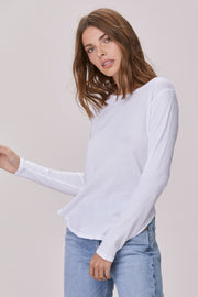 Essential Long Sleeve Crew Neck Tee in White