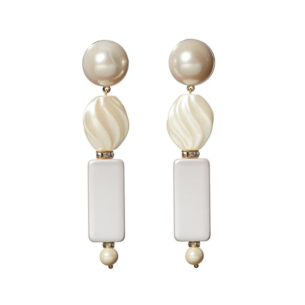 Stacked Pearl Earrings in Pearl