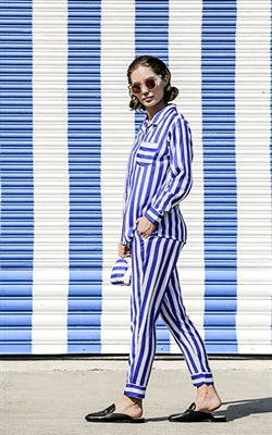 Lounge Pants in Cobalt Stripe