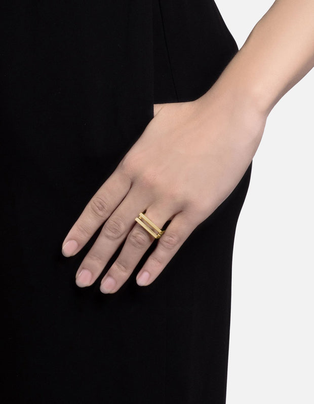 Square Bar Ring - Gold