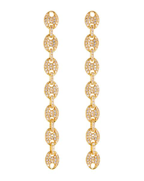 Pave Mariner Link Drop Earrings - Gold