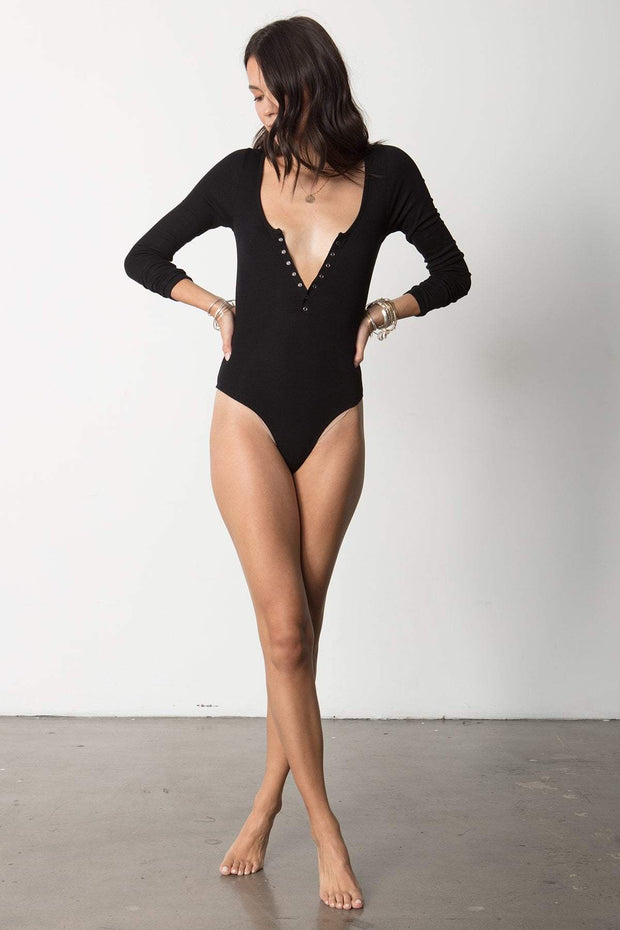 The Snapfront Bodysuit in Black