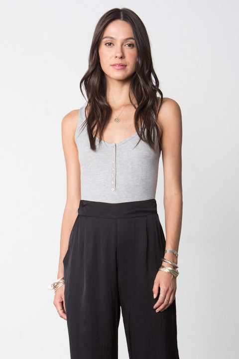 The Snap Front Tank Bodysuit in Heather