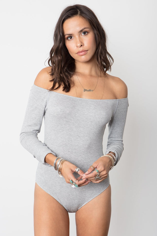 Costa Off The Shoulder Bodysuit in Heather