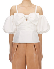 White Taffeta Bow Top