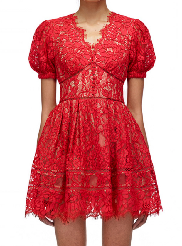 Fine Cord Lace Mini Dress