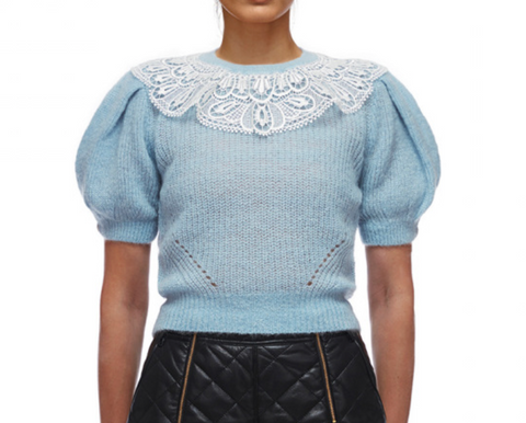Lace Collar Cable Jumper