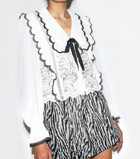 Cord Lace Bow Collar Shirt
