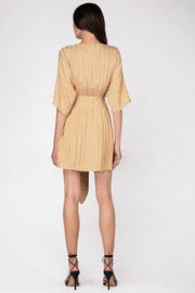 Looped in Batwing Dress - Tan