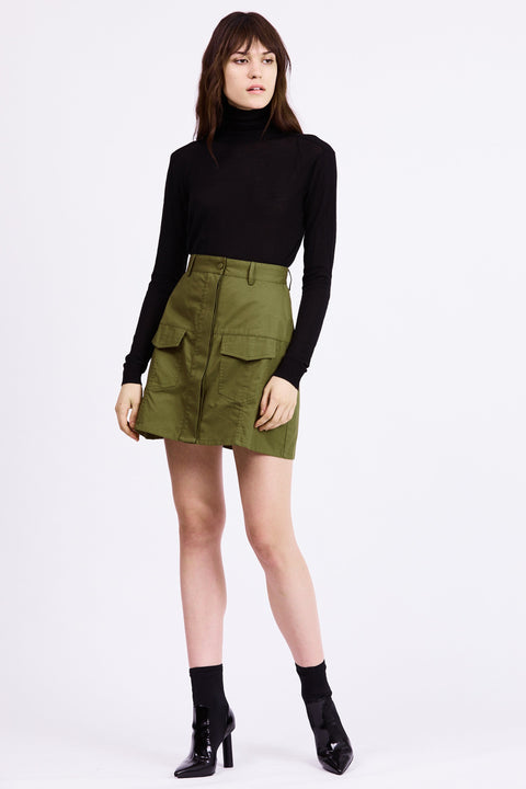 Pocket Mini Skirt in Army - The Edition Shop
