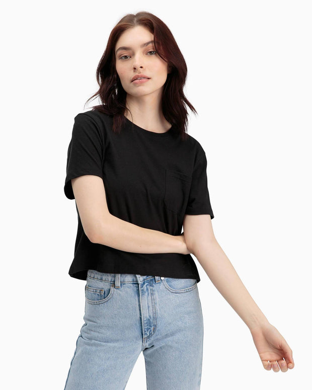 Boxy Crop Tee in Black - The Edition Shop