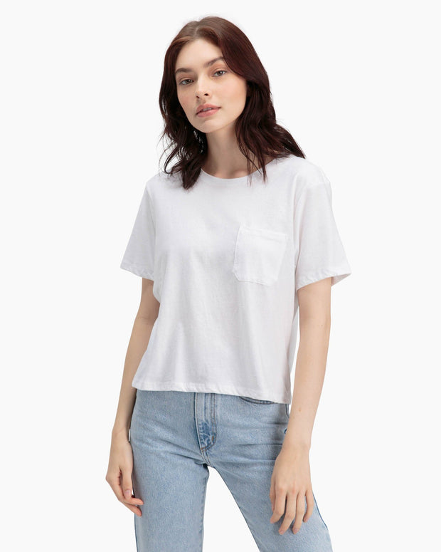 Boxy Crop Tee in White - The Edition Shop