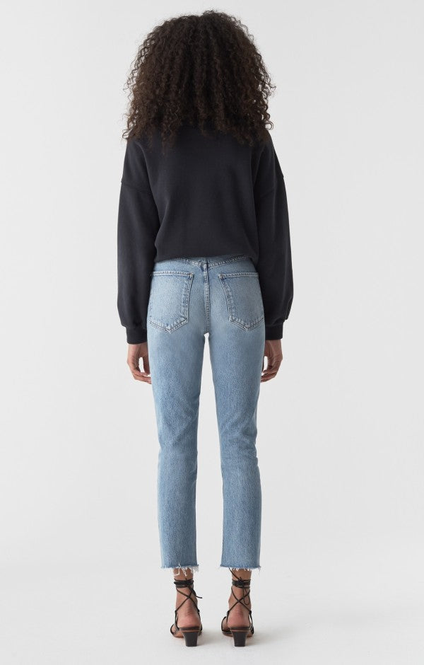 Riley High Rise Straight Crop Jean in Zephyr