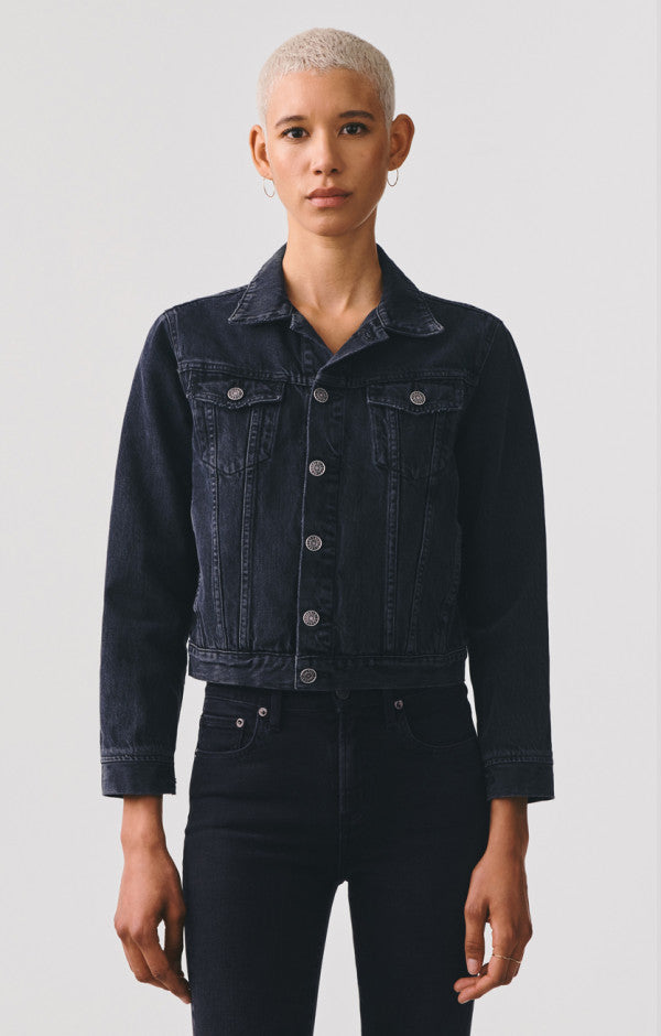 Vivian Shrunken Denim Jacket in Seance