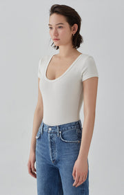 Short Sleeve Scoop Neck Rib Bodysuit - White