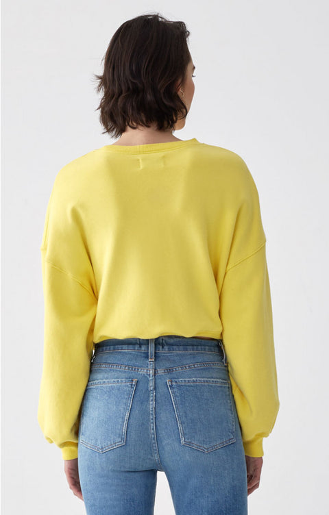 Balloon Sleeve Cropped Sweatshirt in Citrus