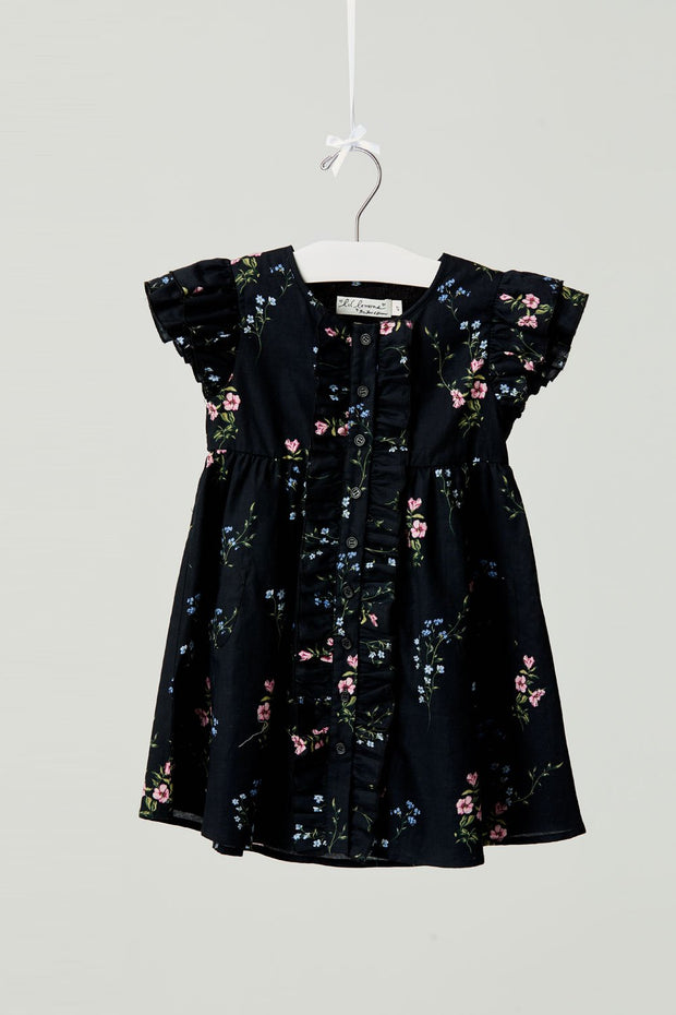 Flower Patch Ruffle Dress in Black Bouquet