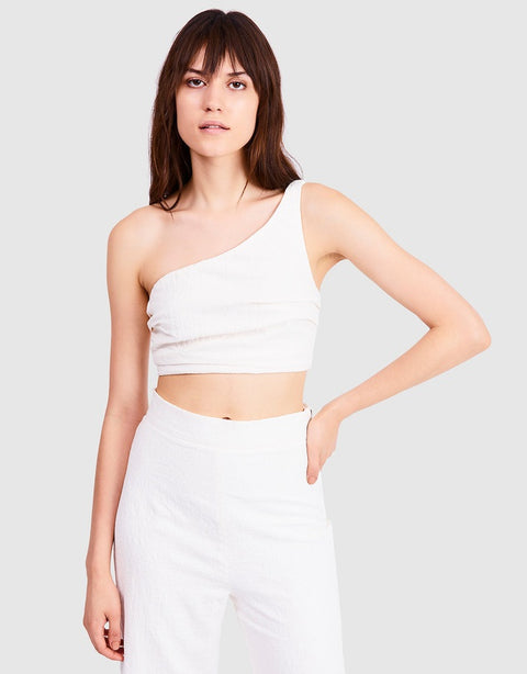 Drifter One Shoulder Top in White