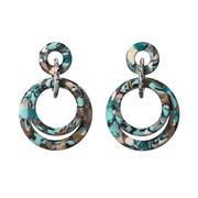 Double Ring Hoop Earrings in Turquoise Confetti
