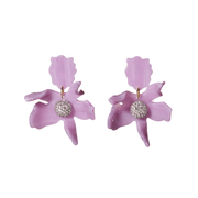Small Crystal Lily Earrings in Lilac