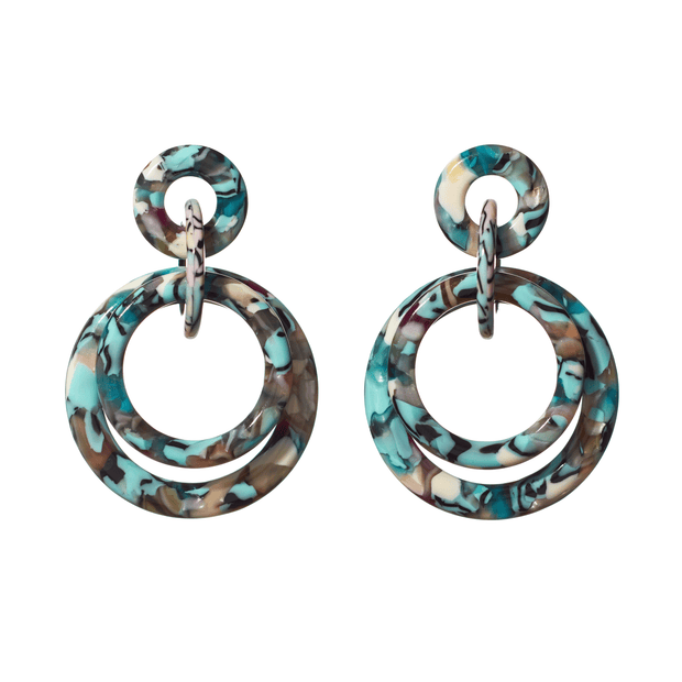 Double Ring Hoop Earrings in Turquoise Confetti - The Edition Shop