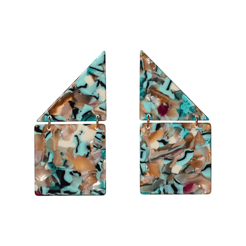 Shingle Earrings in Turquoise Confetti