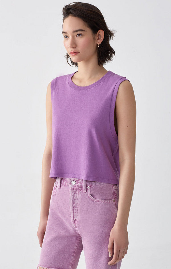 Cropped Muscle Tee in Luna