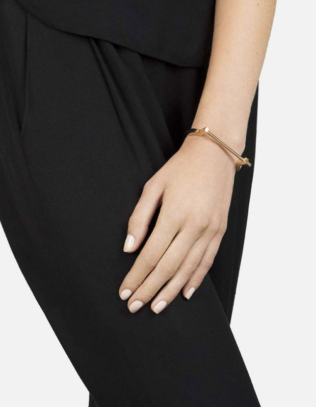 Modern Screw Cuff in Gold