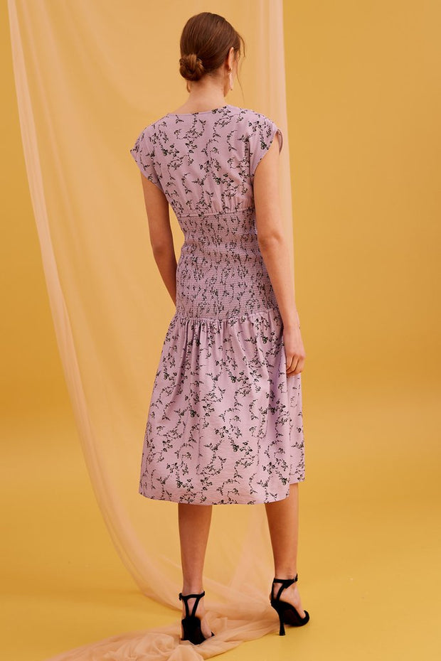 Secure Midi Dress in Lilac Floral