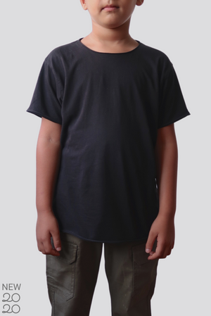 Distressed Premium Pima Crew Neck KIDS Tee - Black