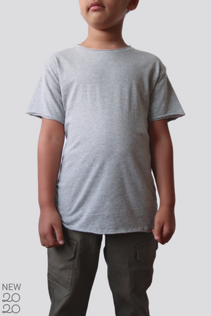 Distressed Premium Pima Crew Neck KIDS Tee - Heather Grey