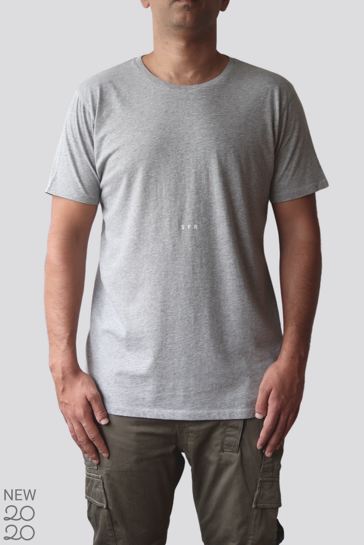 Premium Pima Crew Neck LOGO Tee - Heather Grey / White Print