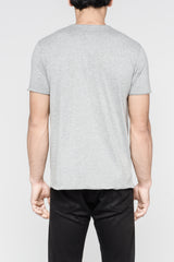 Distressed Premium Pima V-Neck - Heather Grey