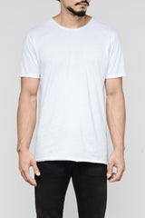 Distressed Premium Pima Crew Neck - White (Pre-Order End April Delivery)