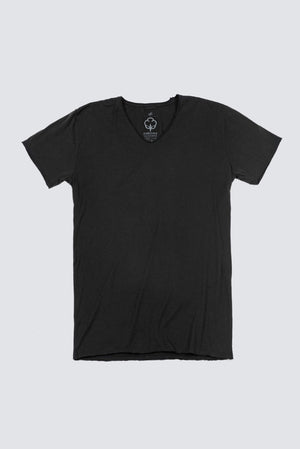 Distressed Premium Pima V-Neck - Black