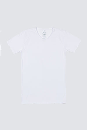 Distressed Premium Pima V-Neck - White