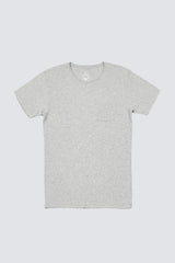 Premium Pima Pocket Crew - Heather Grey