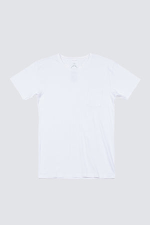 Premium Pima Pocket Crew - White