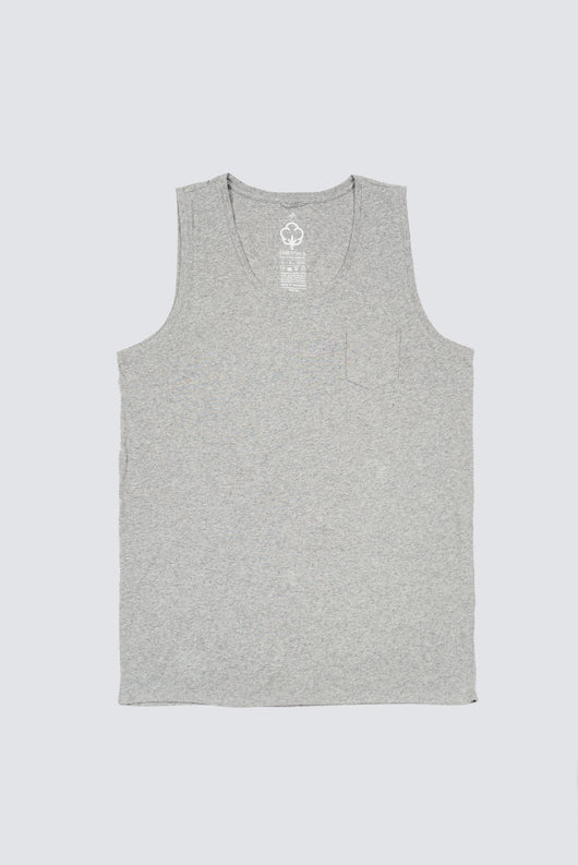 Premium Pima Singlet - Heather Grey