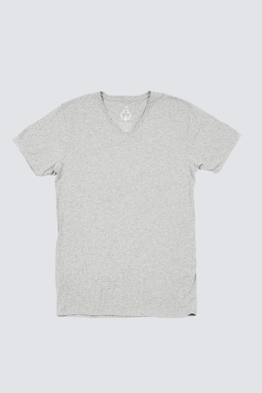 Premium Pima V-Neck - Heather Grey